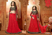 Timeless Elegance Red & Black Color Net Suit