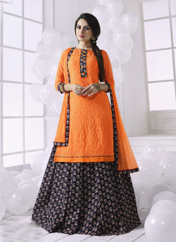 Charming & Attractive Orange Colored Georgette Suit
