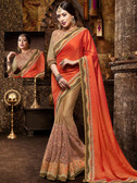 Incredibly Attractive Red & Brown Colored Satin and Net Saree