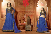Timeless Elegance Blue & Black Color Net Suit