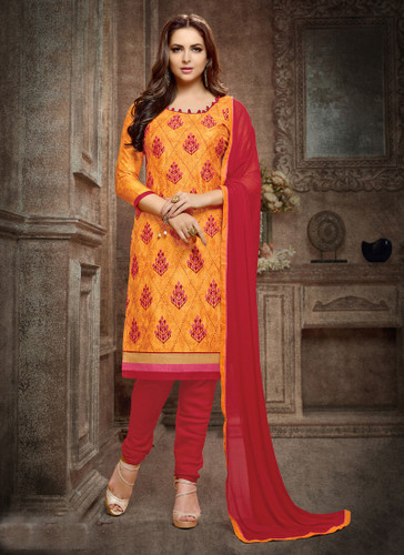 Casual & Trendy Yellow Colored Cotton Suit