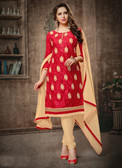 Casual & Trendy Red Colored Cotton Suit
