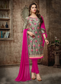 Casual & Trendy Grey Colored Cotton Pretty Suit