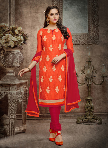 Casual & Trendy Orange Colored Cotton Suit