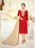 Attractive & Timeless Red Colored Poly Cotton Suit
