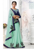 Stylish & Attractive Sea Green Colored Georgette Saree