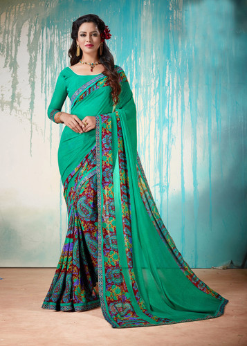 Colorful & Lively Green Colored Fancy Printed Georgette Border Saree