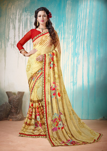 Colorful & Lively Cream Colored Fancy Printed Georgette Border Saree
