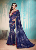 Colorful & Lively Blue Colored Fancy Printed Georgette Border Saree