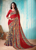 Colorful & Lively Red Colored Fancy Printed Georgette Border Saree
