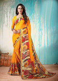 Colorful & Lively Orange Colored Fancy Printed Georgette Border Saree