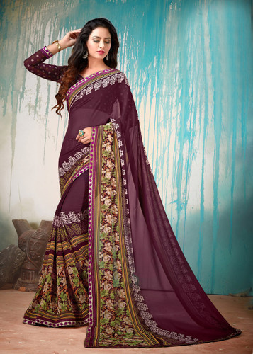 Colorful & Lively Magenta Colored Fancy Printed Georgette Border Saree