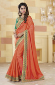 Incredibly Vibrant Light Orange Colored Silk Saree