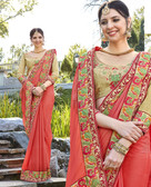 Uniquely Attractive Light Orange Colored Georgette Saree
