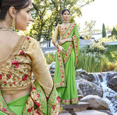 Uniquely Attractive Light Green Colored Georgette Saree
