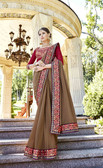 Uniquely Attractive Light Brown Colored Georgette Saree
