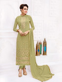 Attractively Styled Light Green Colored Pure Georgette Semi Stitched Suit