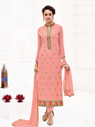 Attractively Styled Light pink Colored Pure Georgette Semi Stitched Suit
