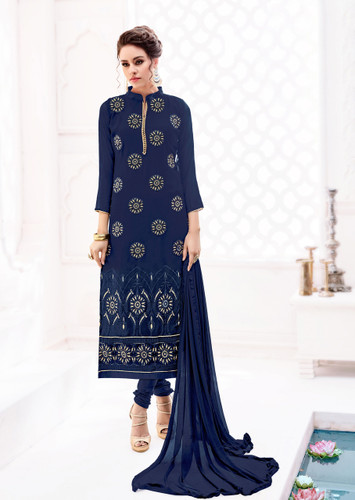 Attractively Styled Deep Blue Colored Pure Georgette Semi Stitched Suit