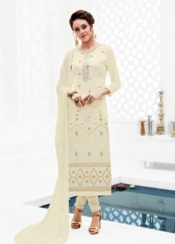 Attractively Styled Off White Colored Pure Georgette Semi Stitched Suit