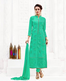 Attractively Styled Teal Green Colored Pure Georgette Semi Stitched Suit