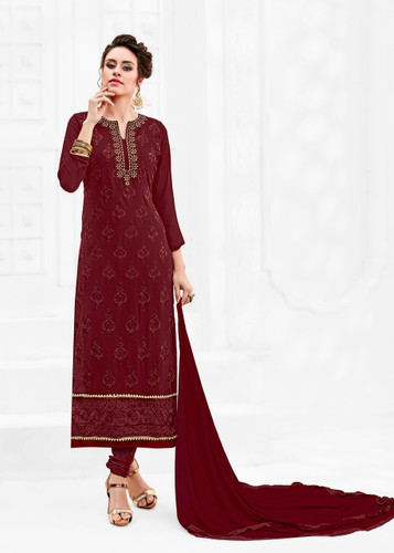 Attractively Styled Deep Maroon Colored Pure Georgette Semi Stitched Suit