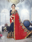 Modern & Allluring Red & Blue Colored Georgette Saree