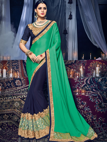 Delightfully Charming Green & Violet Colored Satin Georgette Saree