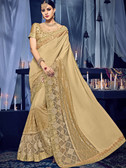 Delightfully Charming Beige Colored Chinnon & Net Jacquard Saree