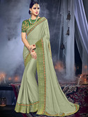 Delightfully Charming Lime Green Colored Moss Chiffon Saree