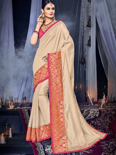 Delightfully Charming Beige Colored Silk With Glitter Saree