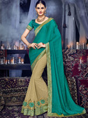 Delightfully Charming Green & Beige Colored Moss Chiffon & Georgette Saree