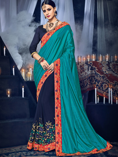 Delightfully Charming Green & Violet Colored Paper Silk & Georgette Saree