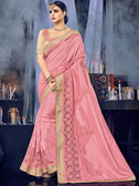 Delightfully Charming Pink Colored Silk Saree