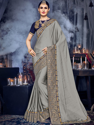 Delightfully Charming Grey Colored Moss Chiffon Saree