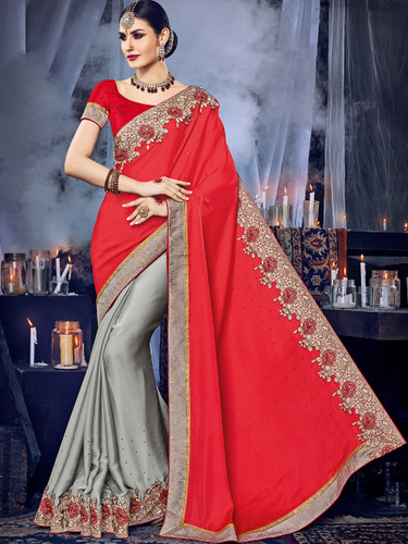 Delightfully Charming Red & Grey Colored Satin Georgette Saree