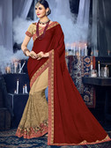 Delightfully Charming Maroon & Beige Colored Two Tone Satin Georgette & Silk Saree