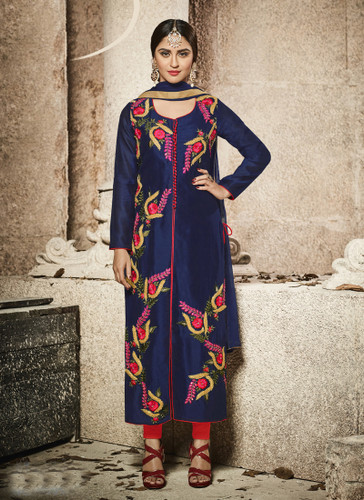 Attractive & Modern Navy Blue Colored Cotton Satin Designer Suit