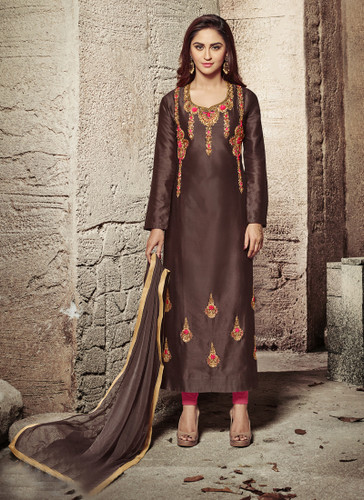 Attractive & Modern Brown Colored Cotton Satin Suit