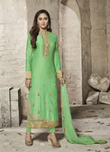 Attractive & Modern Green Colored Cotton Satin Premium Suit