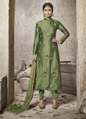Attractive & Modern Green Colored Cotton Satin Pretty Suit