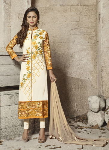Attractive & Modern Off White Colored Cotton Satin & Rayon Suit