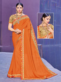 Alluring & Vibrant Orange Colored Chinnon Saree