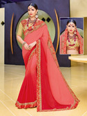 Alluring & Vibrant Orange & Red Colored Moss Chiffon Saree