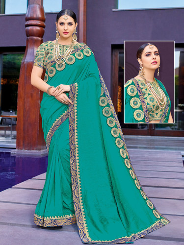 Alluring & Vibrant Green Colored Two Tone  Silk Saree