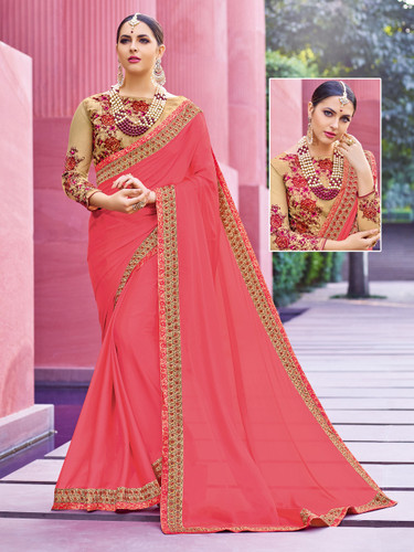 Alluring & Vibrant Pink Colored Crepe Saree