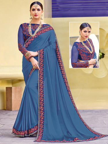 Alluring & Vibrant Violet Colored Two Tone Moss Chiffon Saree