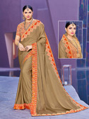 Alluring & Vibrant Brown Colored Two Tone Chinnon Saree
