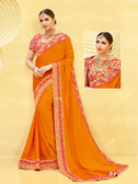 Alluring & Vibrant Orange Colored Satin Georgette Saree