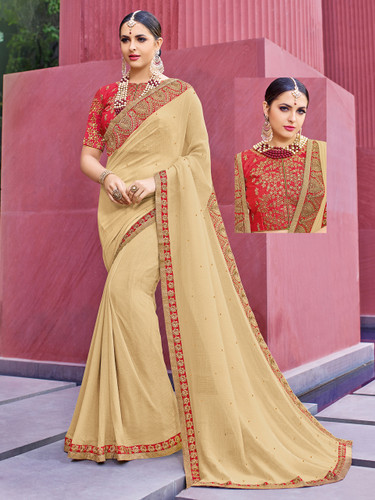 Alluring & Vibrant Cream Colored Marble Chiffon Saree